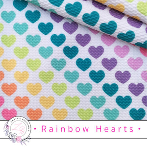⋅ Rainbow Hearts ⋅  Bullet/Liverpool Stretch Fabric