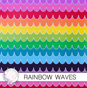 Rainbow Waves ~ Faux Leather ~ 1mm