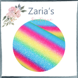 Brights Rainbow  ~ FINE GLITTER ~ Pink Blue Yellow Faux Bow Leather