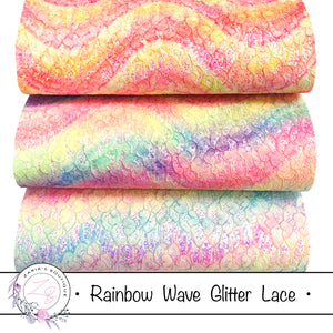 Rainbow Waves Glitter Lace ~  3 Colours