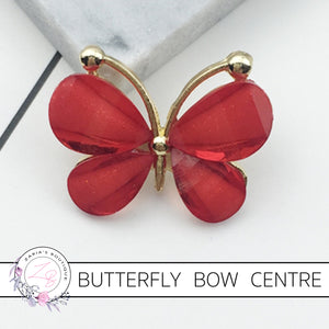 Butterfly Bow Centre ~ Flat Back Embellishment ~ Red