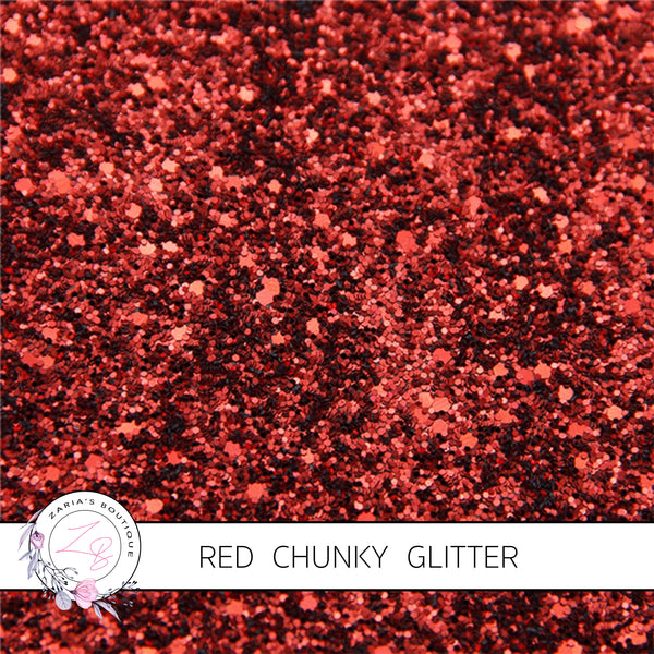 Red Chunky ~ Glitter Canvas Backed Faux Leather Bow Making Fabric Sheets