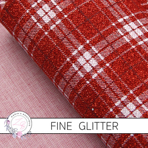 Red Check Plaid ~  Fine Patterned Glitter ~ 0.66mm