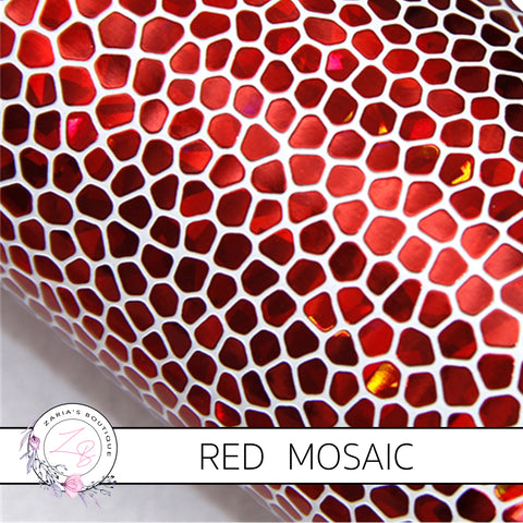 Red Mosaic Pebble ~ Faux Leather ~ 1mm