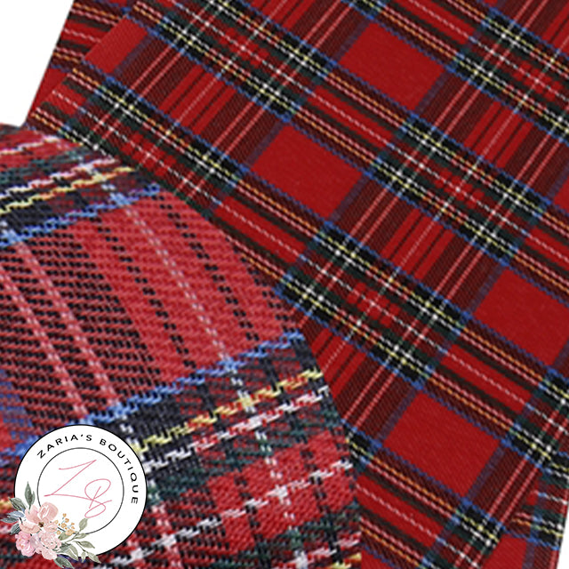 Red Tartan Check ~ Faux Leather Fabric  ~ 0.52mm