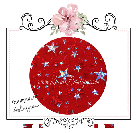 Transparent Hologram Stars ~ Red & Silver ~ Bow Making ~ Craft Fabric Sheets