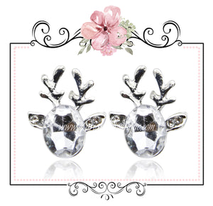 Clear Crystal Christmas Reindeer Earrings - Cut Glass Silver Alloy Pierced Stud Posts