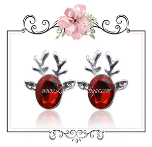 Red Crystal Christmas Reindeer Earrings - Cut Glass Silver Alloy Pierced Stud Posts