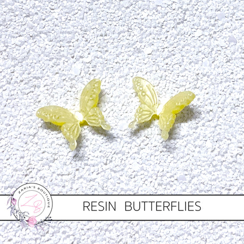 Butterflies ~ Yellow ~ Resin Embellishments ~ 2 pieces