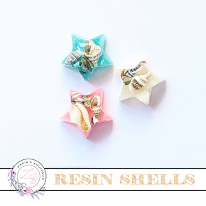 Shell Resin Embellishments ~ Pink, Blue or Natural