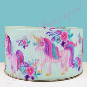 "2 yards ~ Floral Unicorn Grosgrain Ribbon | 2"" ~ 50mm"