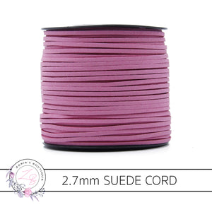 Faux Suede Cord ~ 2.7mm ~ Rose Pink ~ 5 Metres
