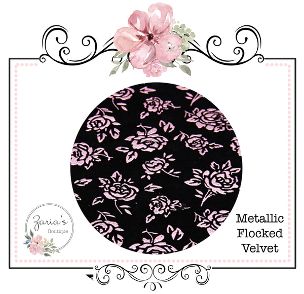 Metallic Pink Rose on Black Flocked Velvet