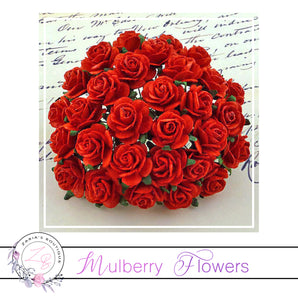 Mulberry Paper Flowers ~ Red Roses ~ 2 sizes