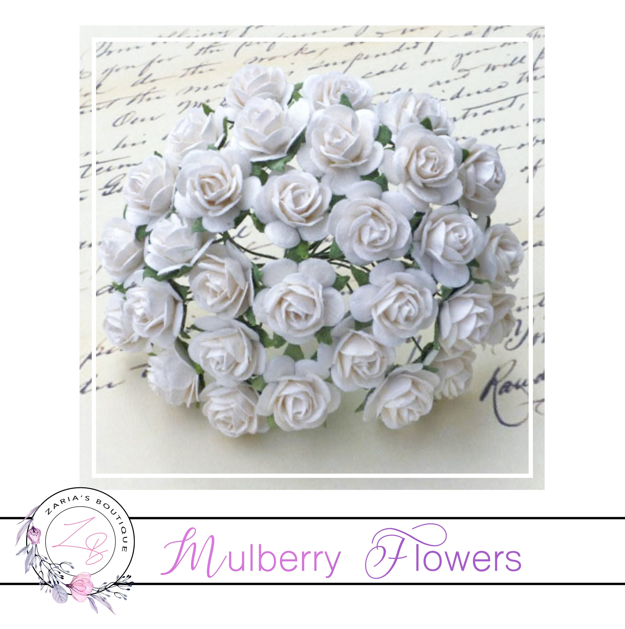 Mulberry Paper Flowers ~ White Roses ~ 2 sizes