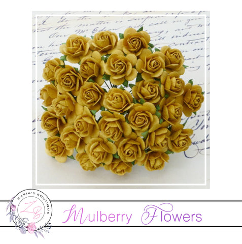 Mulberry Paper Flowers ~Gold Roses ~ 2 sizes