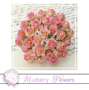 Mulberry Paper Flowers ~ Two-Tone Champagne/Pink Roses ~ 2 sizes