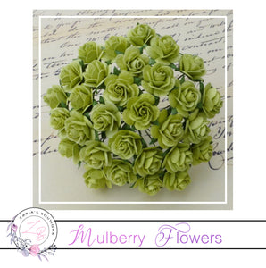 Mulberry Paper Flowers ~ Lime Green Roses ~ 2 sizes