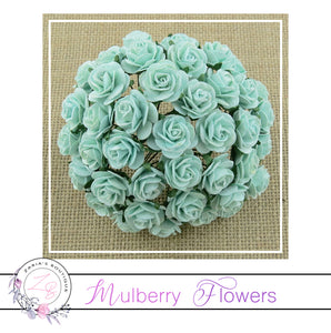 Mulberry Paper Flowers ~ Pastel Green Roses ~ 2 sizes