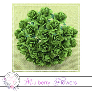 Mulberry Paper Flowers ~ Mint Green Roses ~ 2 sizes