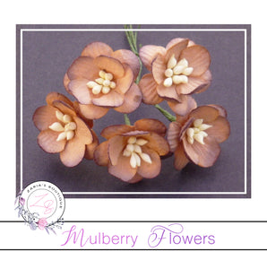 Mulberry Paper Cherry Blossoms ~ 2 Tone Chocolate Brown ~ 5 pieces