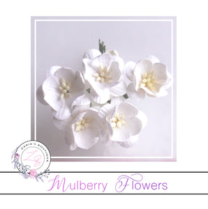 Mulberry Paper Cherry Blossoms ~ White ~ 5 pieces