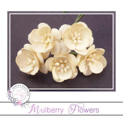Mulberry Paper Cherry Blossoms ~ Cream ~ 5 pieces