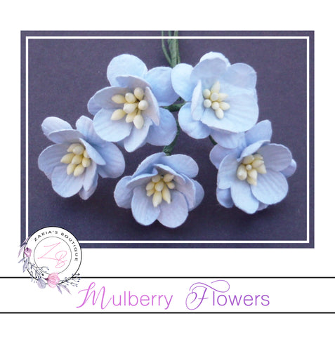 Mulberry Paper Cherry Blossoms ~ Baby Blue ~ 5 pieces