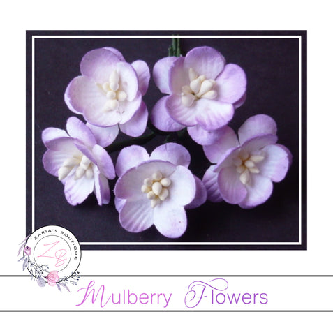 Mulberry Paper Cherry Blossoms ~ Lilac ~ 5 pieces