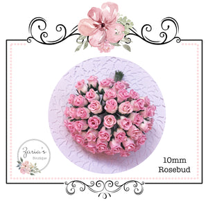 Mulberry Paper Flower ~ Two-tone Pink Hip Rosebud ~ 0.8mm-10mm x 5
