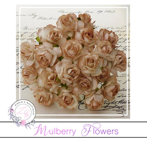 Mulberry Paper Flowers ~ Wild Rose ~ 30mm ~ 2-Tone Brown