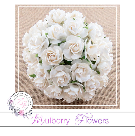 Mulberry Paper Flowers ~ Wild Rose ~ 30mm ~ White