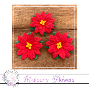 Mulberry Paper Flowers ~ Large Christmas Red Poinsettias ~ 5 pieces