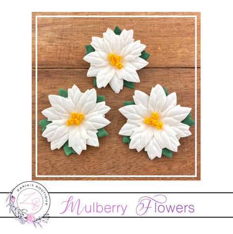 Mulberry Paper Flowers ~ Large Christmas White Poinsettias ~ 5 pieces