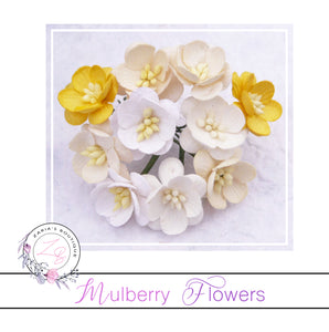 Mulberry Paper Cherry Blossoms ~ White/Cream Mix ~ 5 pieces