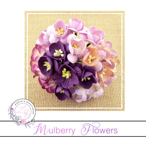 Mulberry Paper Cherry Blossoms ~ Mixed Purples ~ 5 pieces