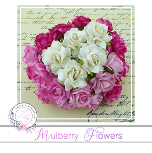 Mulberry Paper Flowers ~ Wild Rose ~ 30mm ~ Pink/White Mix