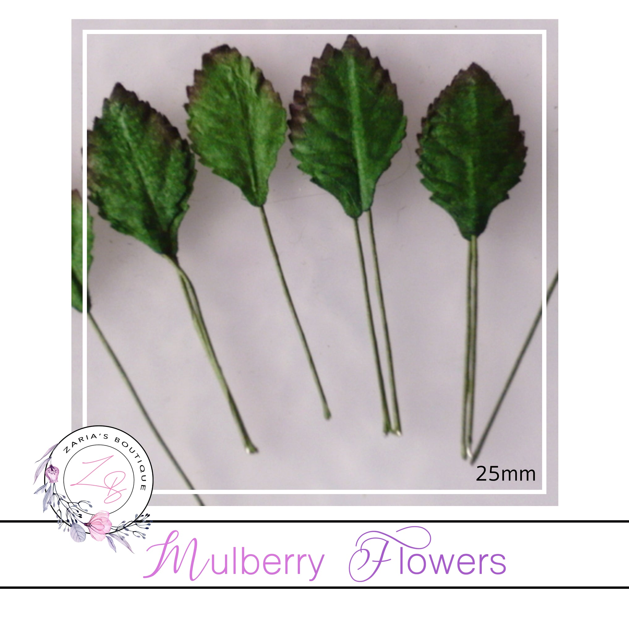 Mulberry Paper Flowers ~ Leaves ~ 25mm ~ Green