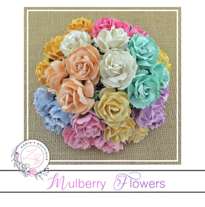 Mulberry Paper Flowers ~ Wild Rose ~ 30mm ~ Pastel Mix