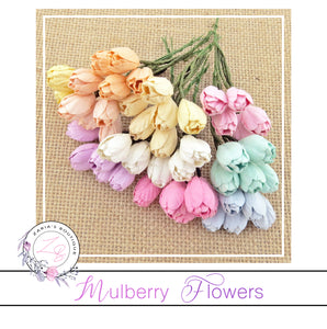 Mulberry Paper Tulips ~ Mixed Colours ~ 10mm x 10 pieces