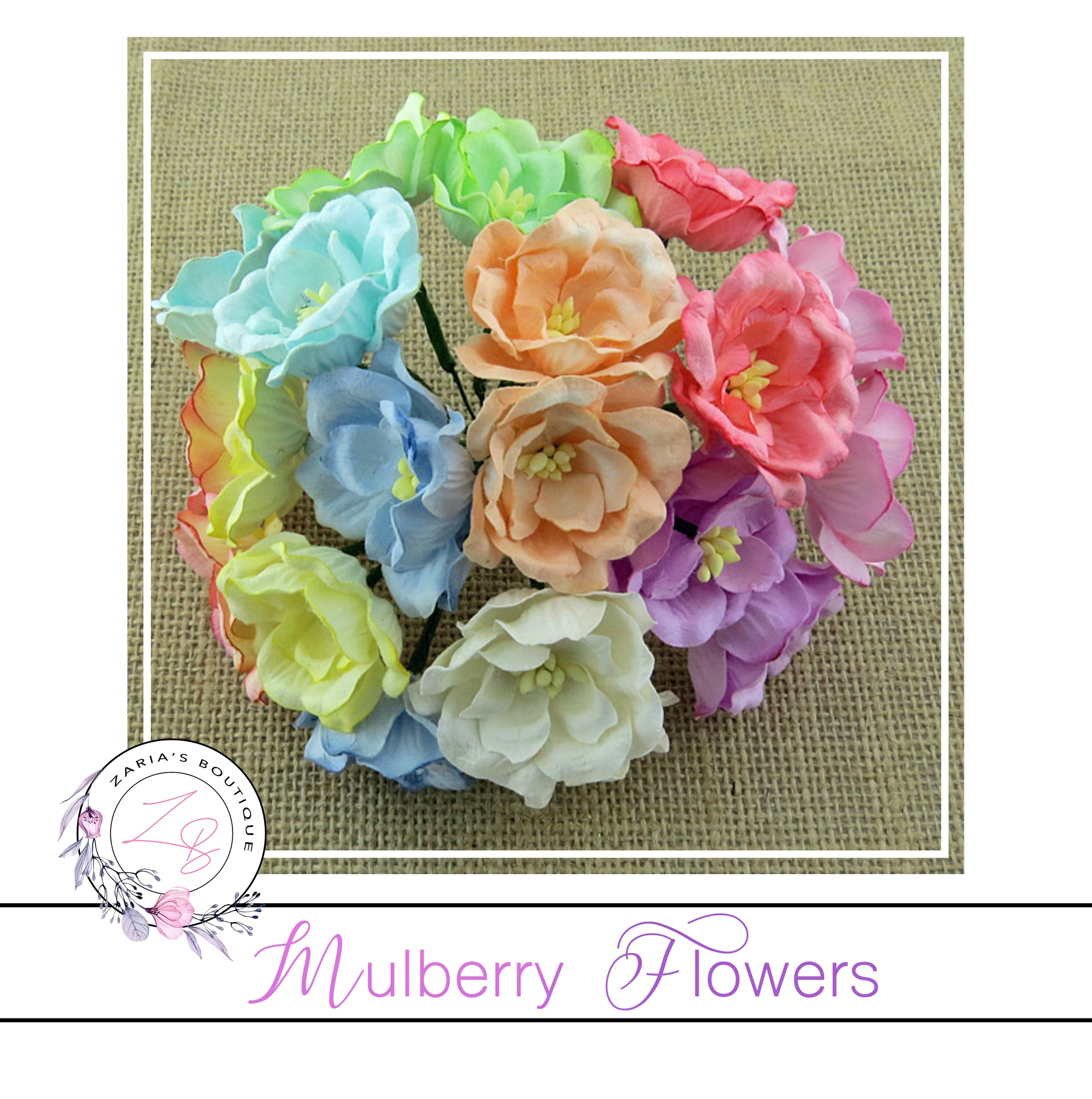 Mulberry Flowers ~ Magnolia ~ Pastel Mix ~ 35mm x 10 pieces