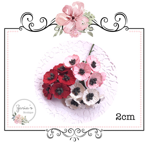 Mulberry Paper Flower ~ Poppy ~ White ~ Pink ~ Red ~ 20mm ~ 2cm x 5