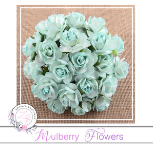 Mulberry Paper Flowers ~ Wild Rose ~ 30mm ~ Aqua ~ 5 OR 10