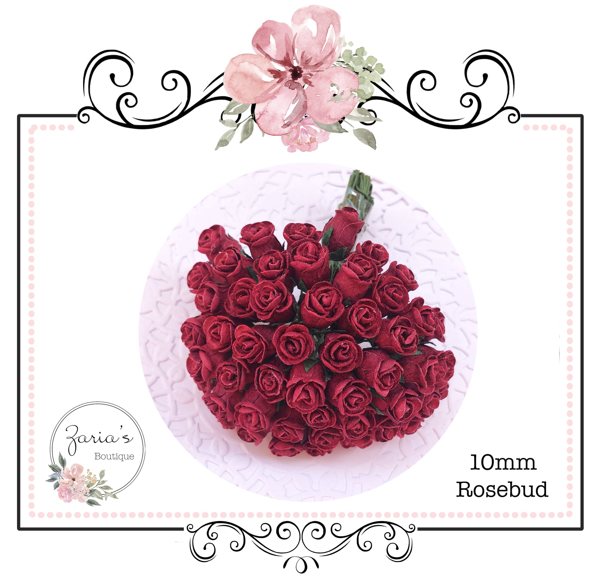 Mulberry Paper Flower ~ Deep Red Hip Rosebud ~ 0.8mm-10mm x 5