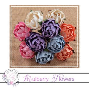Mulberry Paper Flowers ~ Peony ~ 30mm ~ Mixed Colours