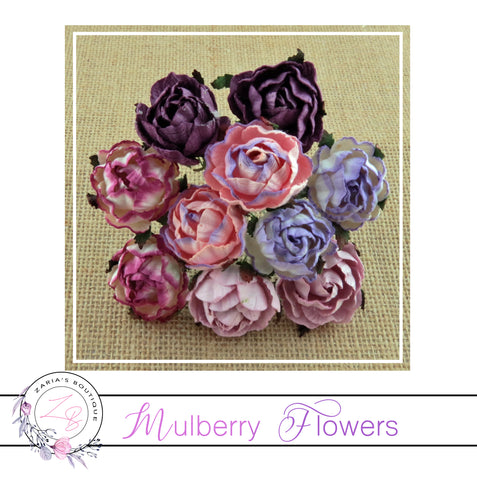 Mulberry Paper Flowers ~ Peony ~ 30mm ~ Mixed Purples/Pinks