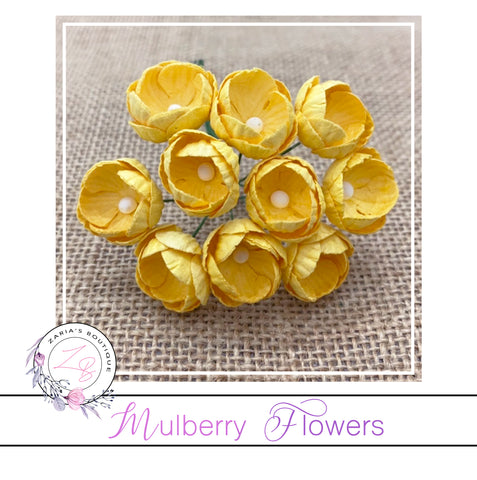 Mulberry Paper Buttercups ~ Yellow ~ 25mm x 10 pieces