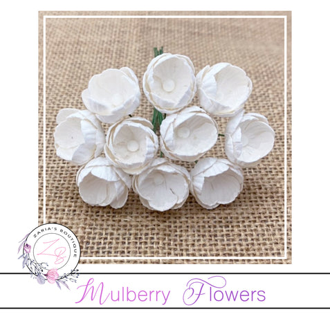 Mulberry Paper Buttercups ~ White ~ 25mm x 10 pieces