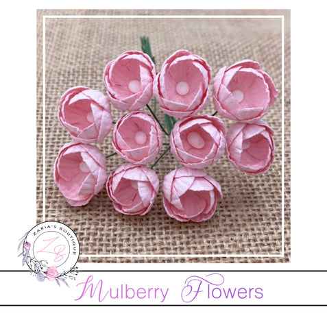 Mulberry Paper Buttercups ~ Light Pink ~ 25mm x 10 pieces