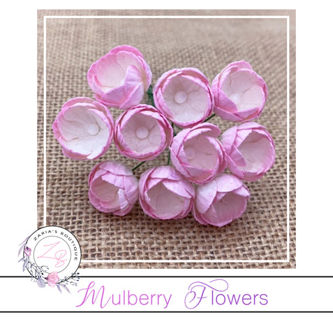 Mulberry Paper Buttercups ~ 2-Tone Baby Pink/Ivory ~ 25mm x 10 pieces